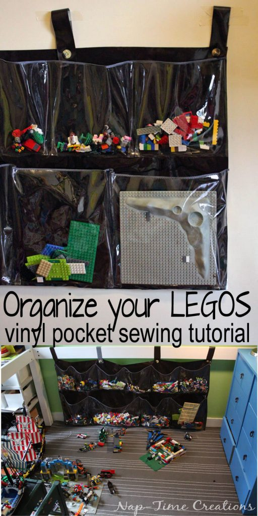 Vinyl Lego Organizer. Sew your own Lego Organizer with clear vinyl from Nap-Time Creations