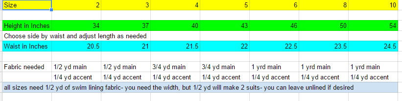 Pants Size Chart Google Sheets