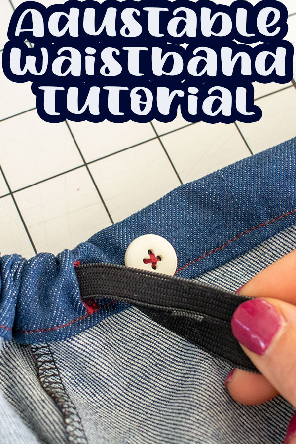 Use this adjustable waistband tutorial to add a waistband that can adjust to any pants/shorts/skirt that you are sewing . Tips for an easy button elastic waistband for any bottoms pattern.