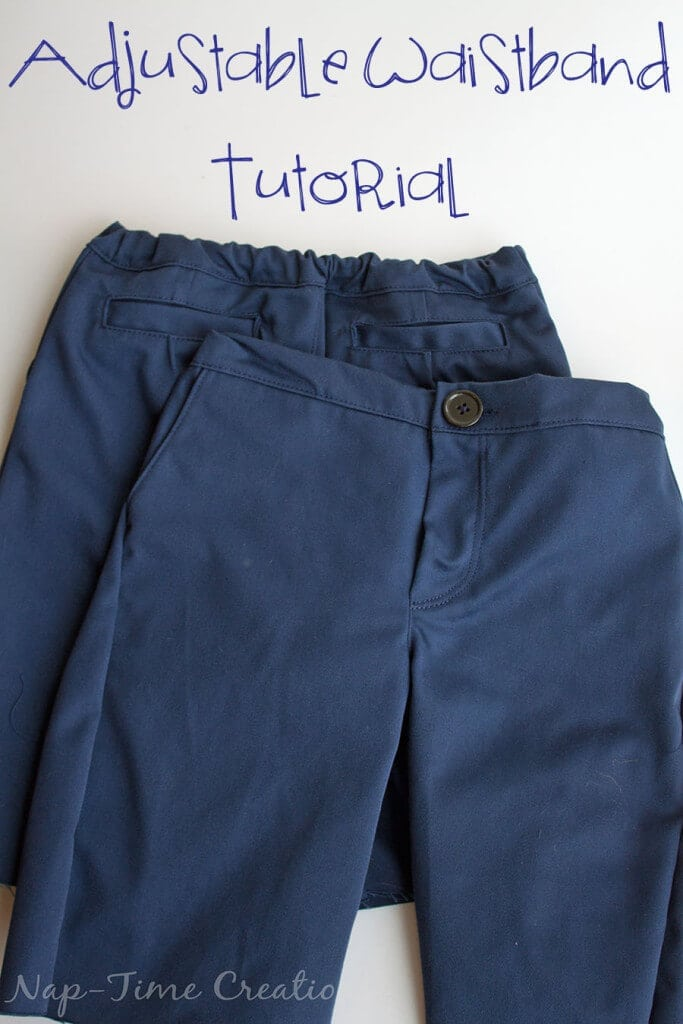 adjustable waistband tutorial- using button elastic and any waistband style pants. tutorial by Nap-Time Creations