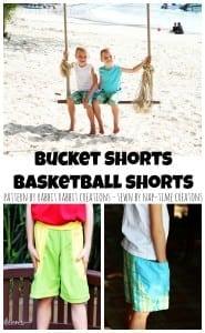 buckets shorts and basketball shorts by Rabbit Rabbit Creations, sewn by Nap-Time Creations