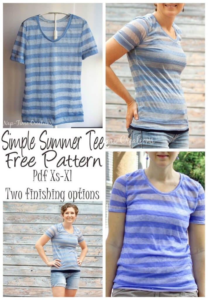 Women's Short Sleeve T-Shirt Free Pattern PDF pattern xs-xl from Nap-Time Creations