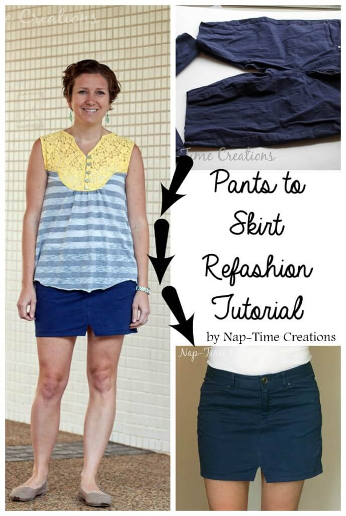 pants to skirt refashion tutorial easy sewing idea from nap-timecreations.com