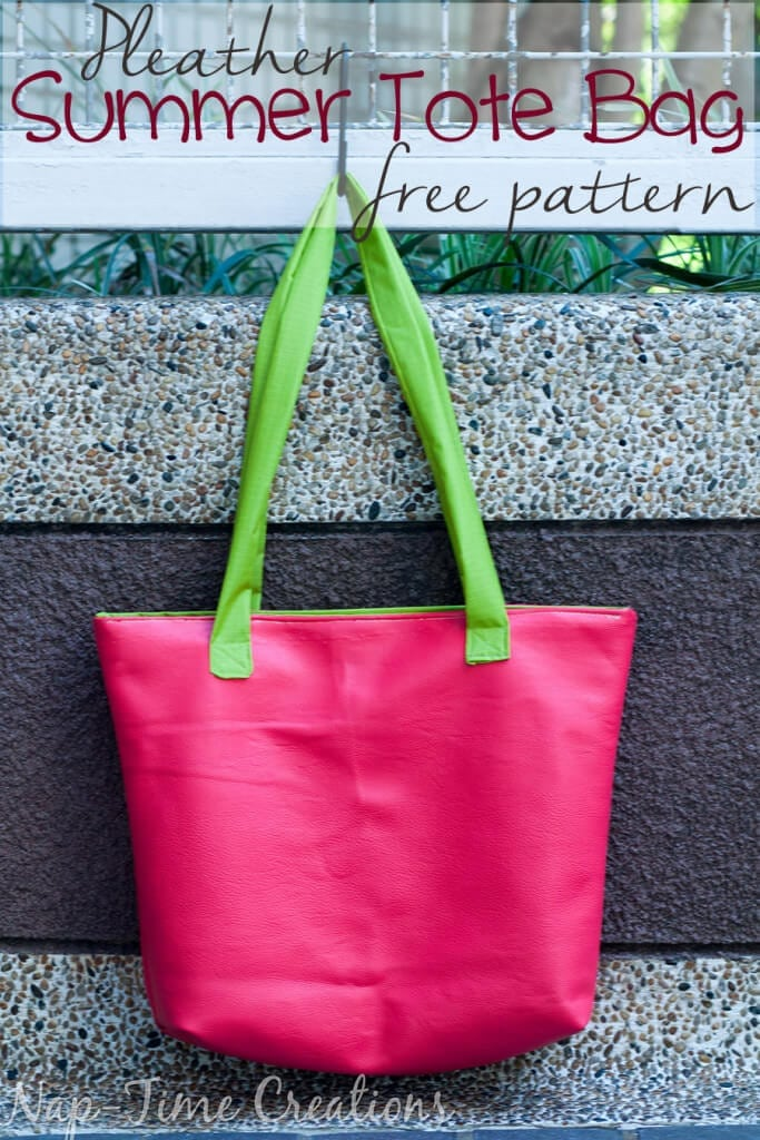 Pleather Summer Tote Bag Free Pattern- Make from Pleather or Leather, a great tote with pockets for summer from Nap-Time Creations