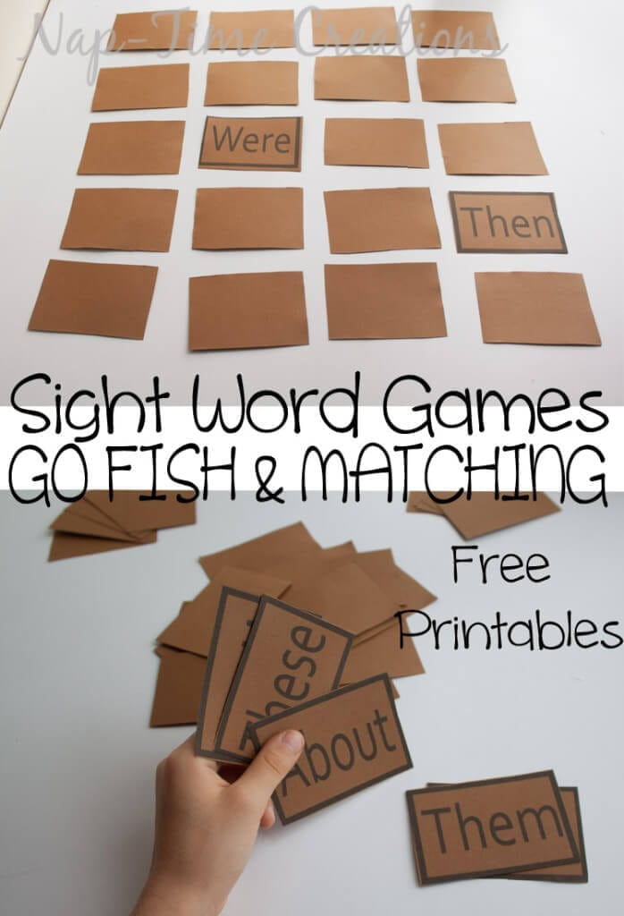 sight word Games. One set of Printable game cards - two games from Nap-Time Creations. OR download the blank cards and fill in your own words!