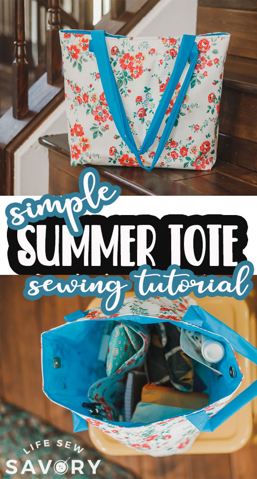Sew a cute summer tote bag with this free pdf pattern and tutorial. Sew with pleather, canvas or other sturdy material for a gorgeous summer tote bag.