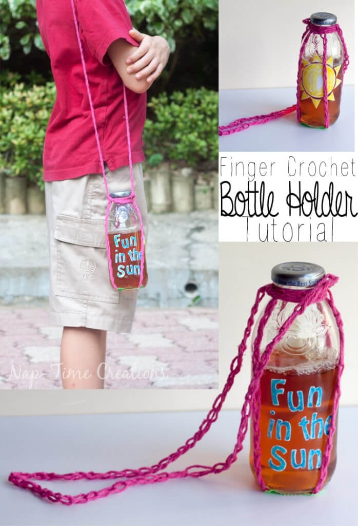 Finger Crochet Bottle Holder for summer fun #SipYourSummer #CollectiveBias from Nap-Time Creations