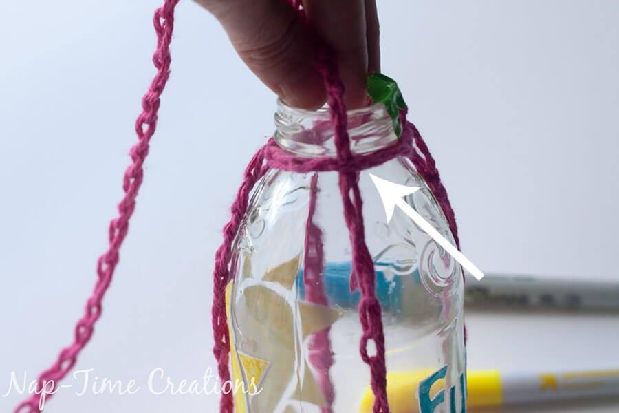 Finger Crochet Bottle Holder 5