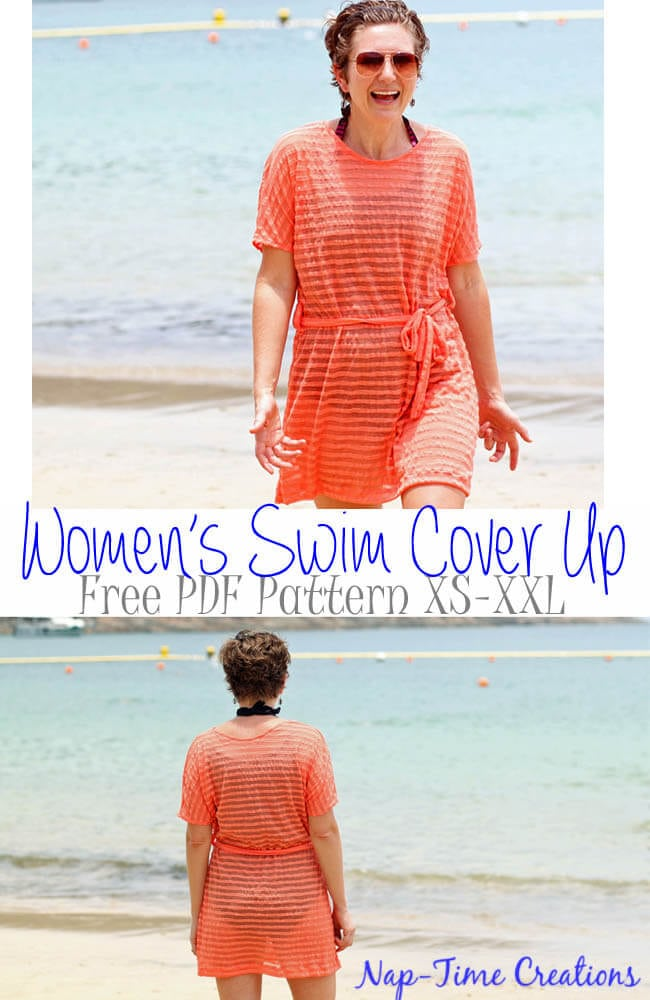 womens swim cover free pattern and tutorial in sizes xs-xxl from Nap-Time Creations