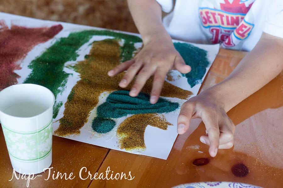 diy colored sand - with sandbox sand, tutorial from Nap-Time Creations 5