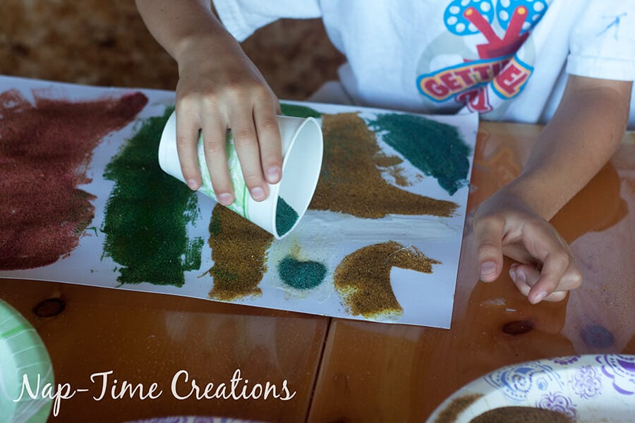 diy colored sand - with sandbox sand, tutorial from Nap-Time Creations 6