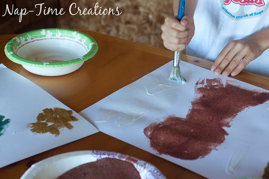 diy colored sand - with sandbox sand, tutorial from Nap-Time Creations 8