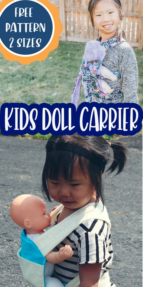 a baby doll carrier free pattern in two sizes. Your kids can wear their baby dolls or animals tow ways - facing in or facing out for fun play. printable pdf pattern via @lifesewsavory