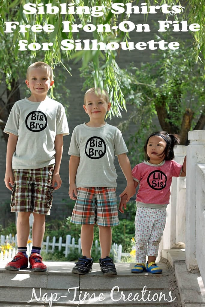 sibling t-shirts with free iron on file design for Silhouette craft cutters from Nap-Time Creations