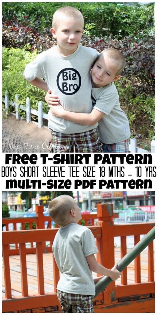 Boys summer t-shirt free pattern. Printable PDF pattern in size 18mth-10yr from Nap-Time Creations