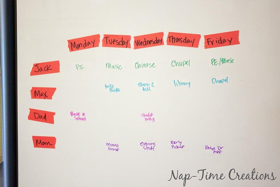 Simple Tape Weekly Organizer 3