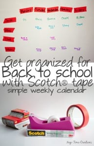 Back to school organization with Simple Tape Weekly Organizer and Scotch® brand tape from Nap-Time Creations #SchoolYearReady {ad} #cbias
