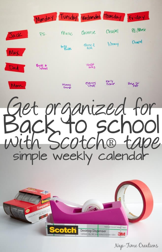 Back to School Organization with a Simple Tape Calendar by Nap Time Creations