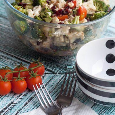 Broccoli Cauliflower and Feta Salad