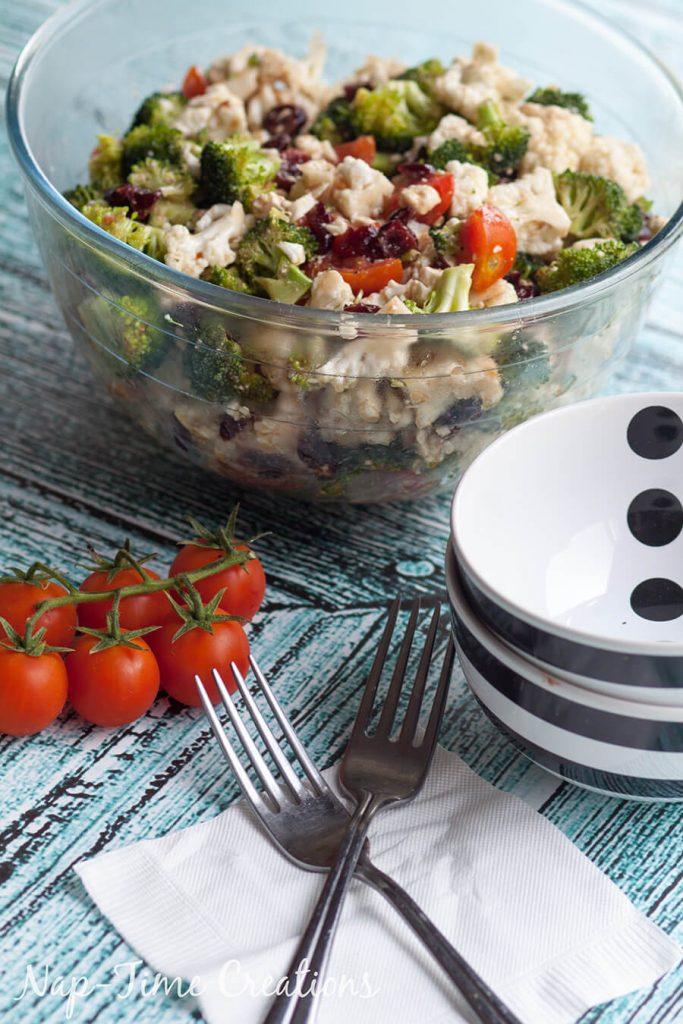 broccoli cauliflower and feta salad 1