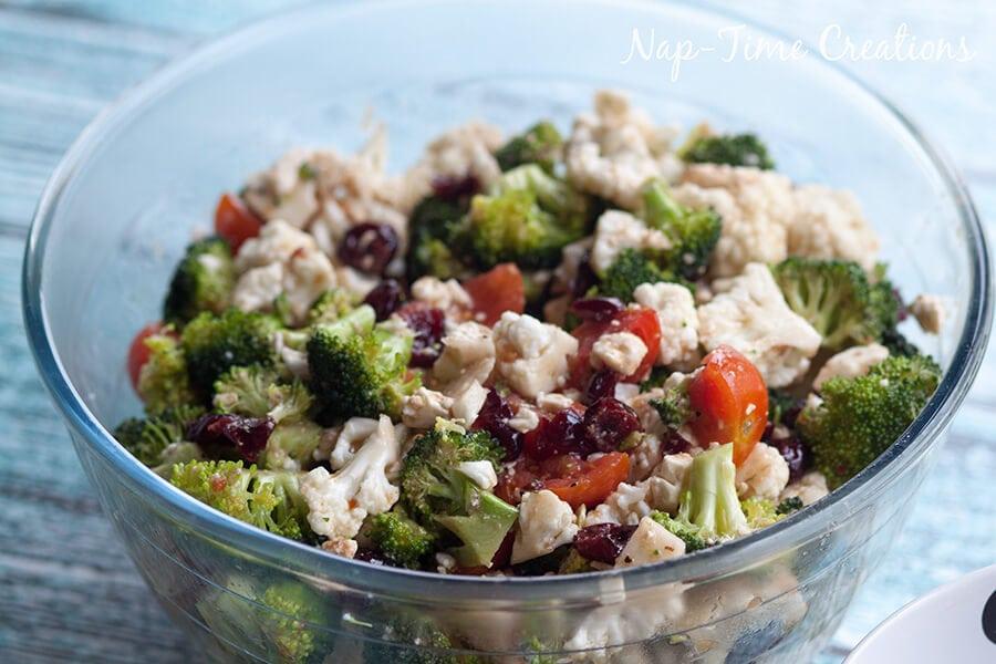 broccoli cauliflower and feta salad 2