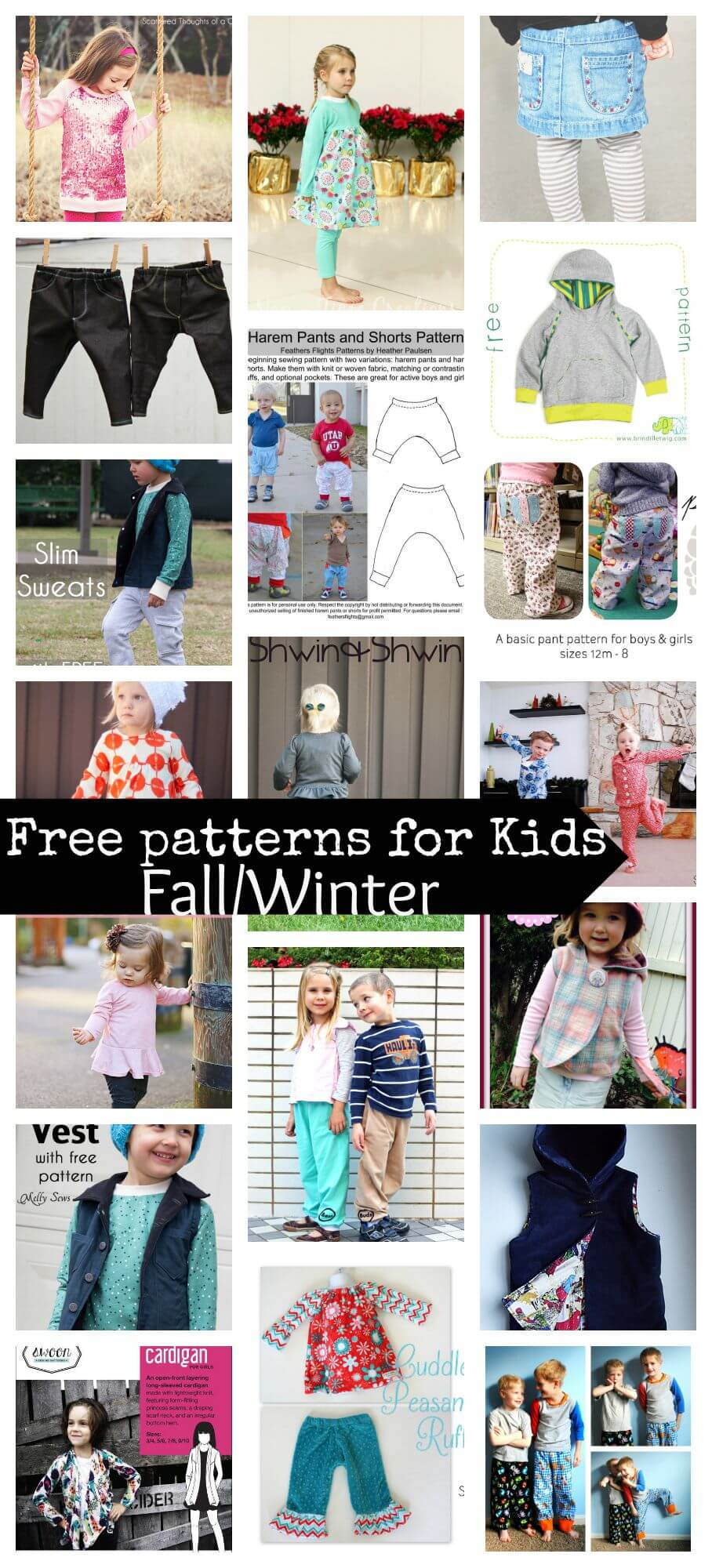 20 free sewing patterns for kids fallwinter
