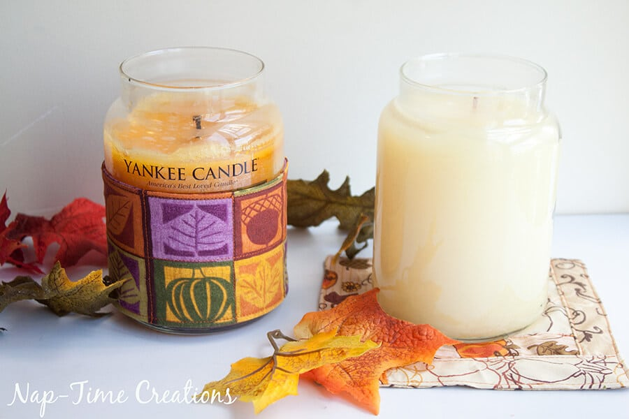 Fall yankee candles Candle Cosy Tutorial - Sew Cute Candle Assessories for Fall from Life Sew Savory