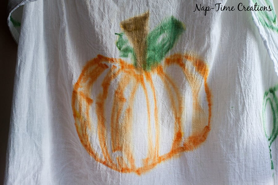 fall towel with sharpies 1