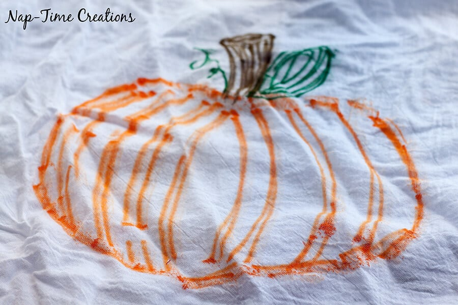 fall towel with sharpies 3