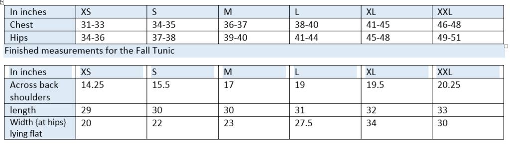 tunic size chart