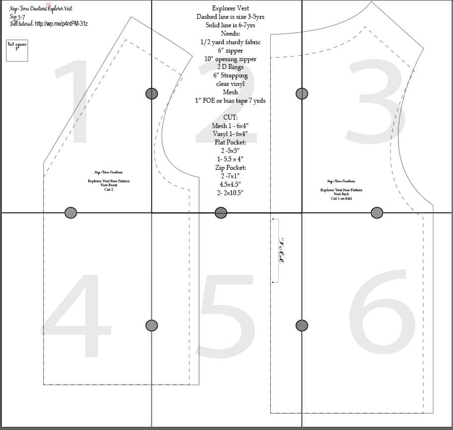 explorer vest layout for pattern