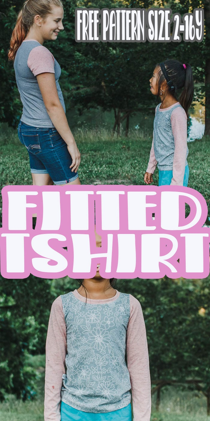 sew up this girls free tshirt pattern for comfortable shirts your kids can wear all year long. Short and long sleeve options in sizes 2-16 years in a fitted styled tee. via @lifesewsavory