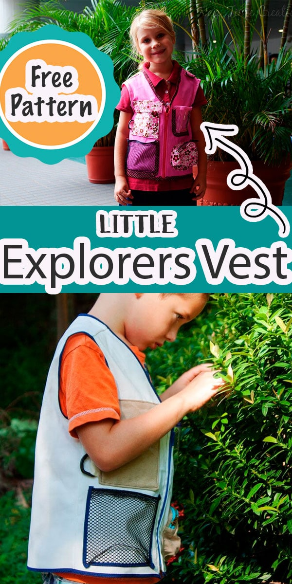 a free pattern to make a little explorers vest for kids. The pdf pattern works for both boys and girls and come in sizes that will fit kids 3-7 years old {approximately}  via @lifesewsavory