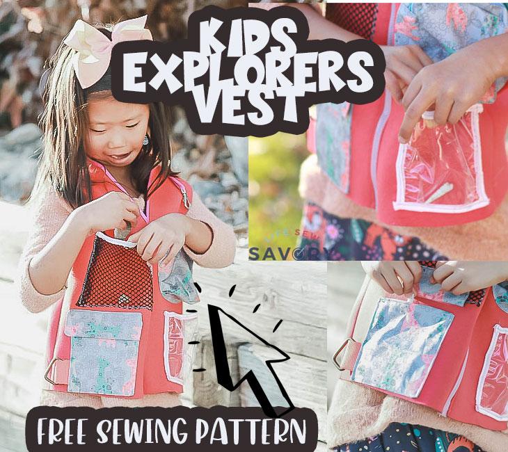 kids explorer vest free sewing pattern