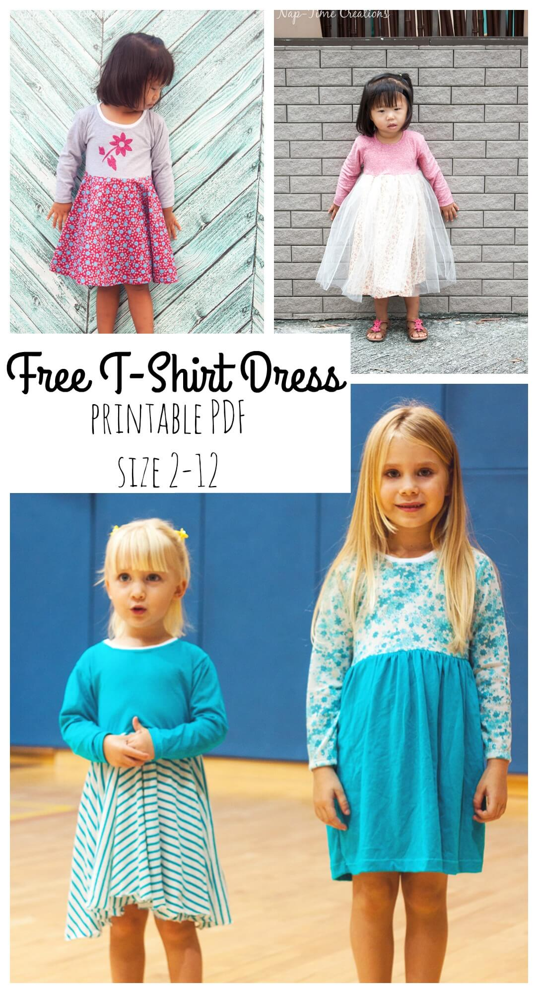 photograph about Free Printable Toddler Dress Patterns known as T-Blouse Gown Totally free PDF Habit - Daily life Sew Savory