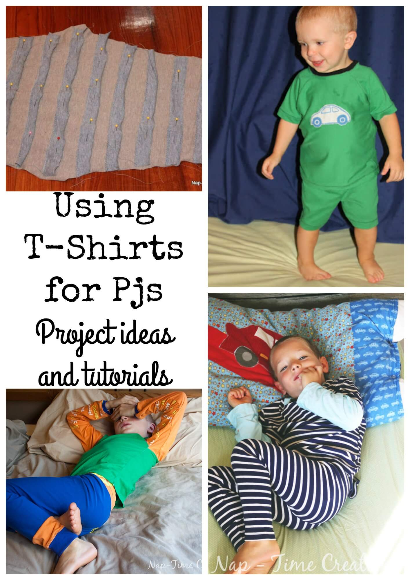 Upcycling T-shirts to Pjs for kids from Nap-Time Creations