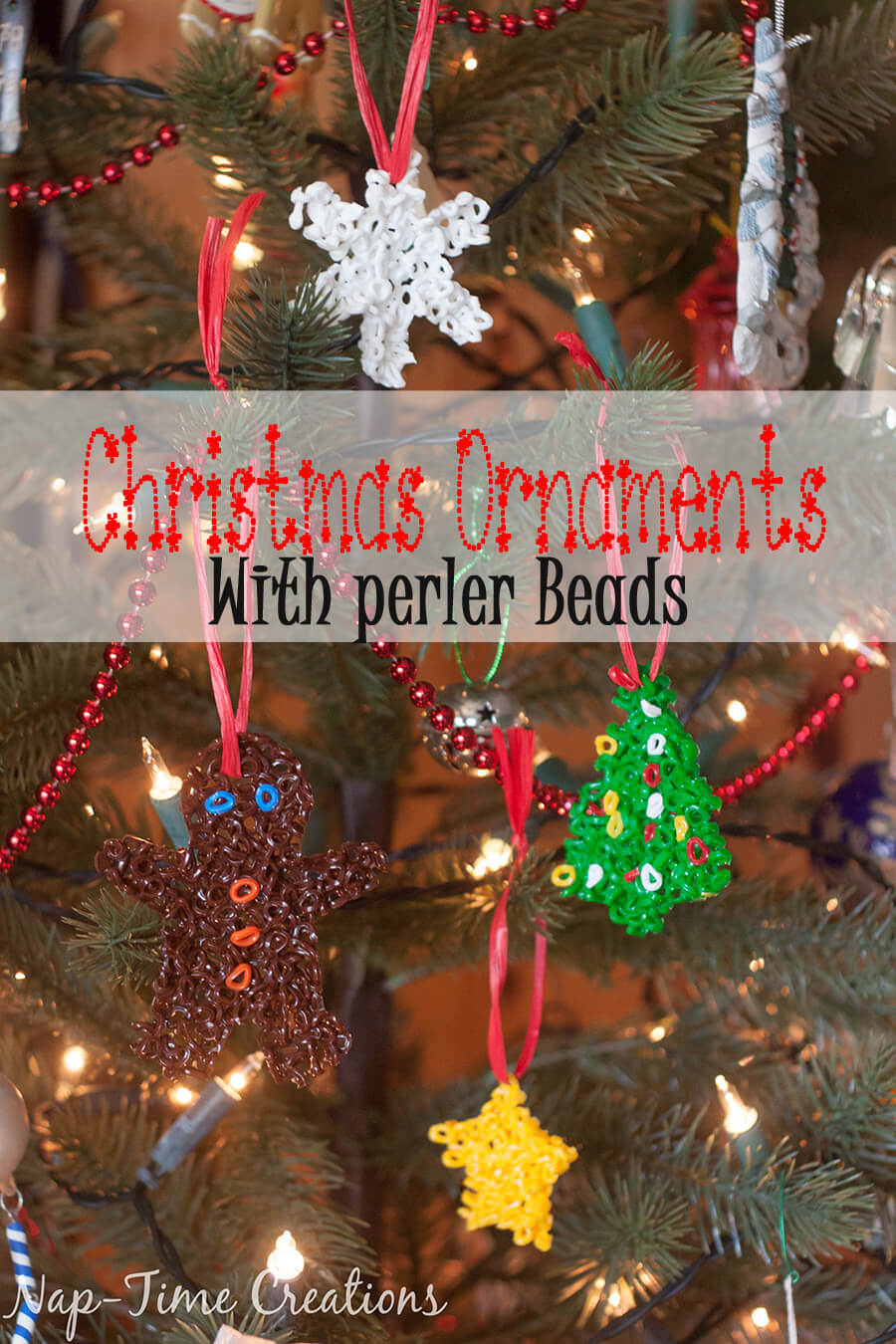 perler bead Christmas Ornaments an easy video tutorial from Nap-Time Creations