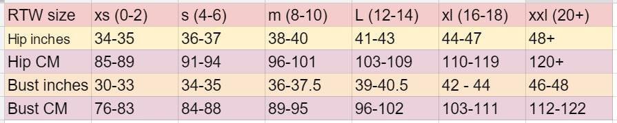 womens size chart xs-xxl chestandhip