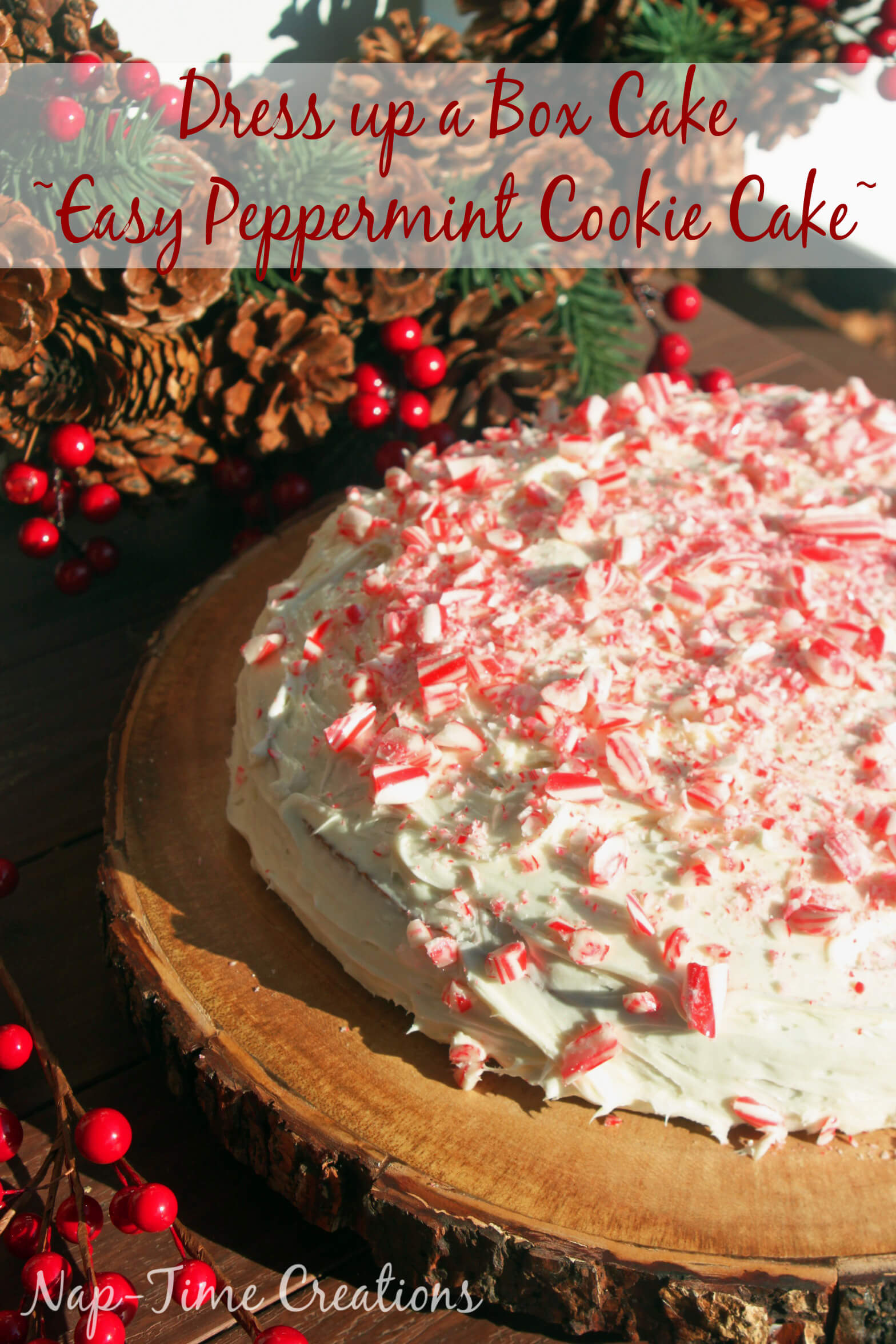 Peppermint Cookie Cake How To - Dress up a box cake from Nap-Time Creations #TheDessertDebate {ad}