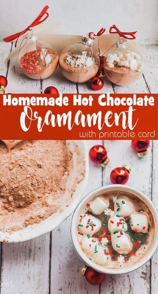 Homemade Hot Chocolate Ornament gift and recipe with printable tag from Life Sew Savory