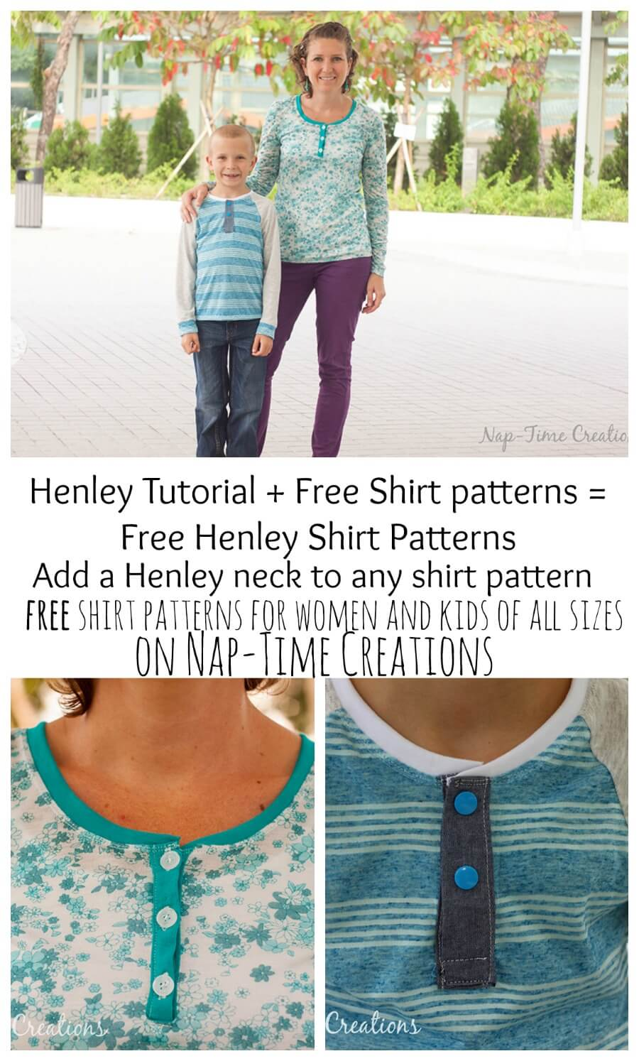 Free Henley Shirt Sewing Patterns for Women and kids from Nap-Time Creations