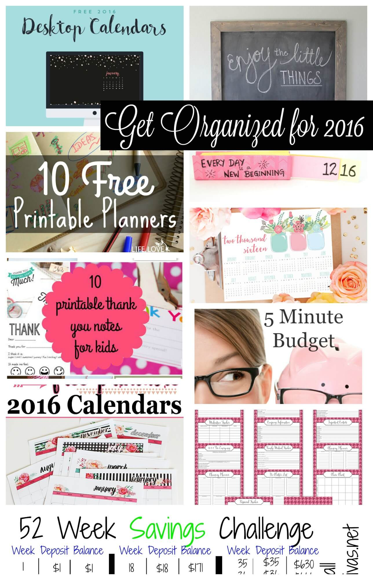 Get Organized for 2016 collection of free printables and calendars from Nap-Time Creations