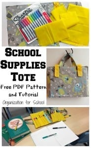 School Supplies Tote free pattern and tutorial on Nap-Time Creations