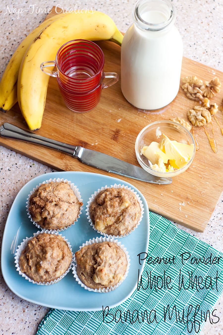 Whole Wheat Banana muffins with peanut powder from Nap-Time Creations #ad #StartWithJifPowder
