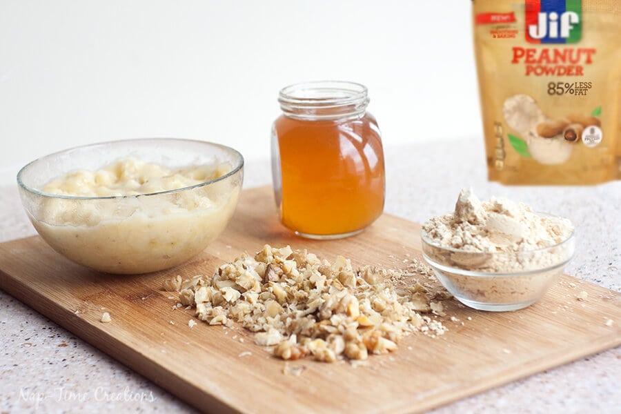 Whole Wheat Banana muffins with peanut powder