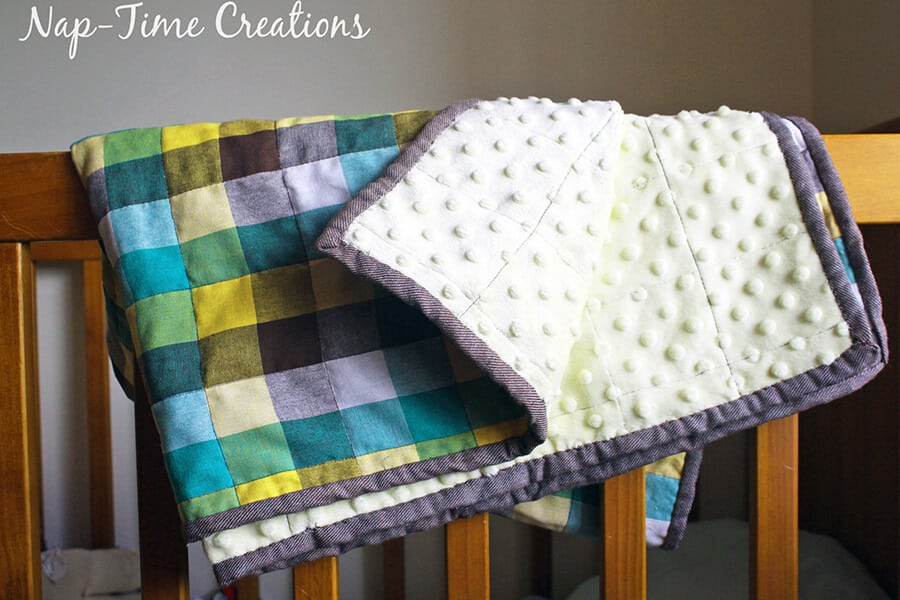 geometic fabric baby blanket tutorial 10