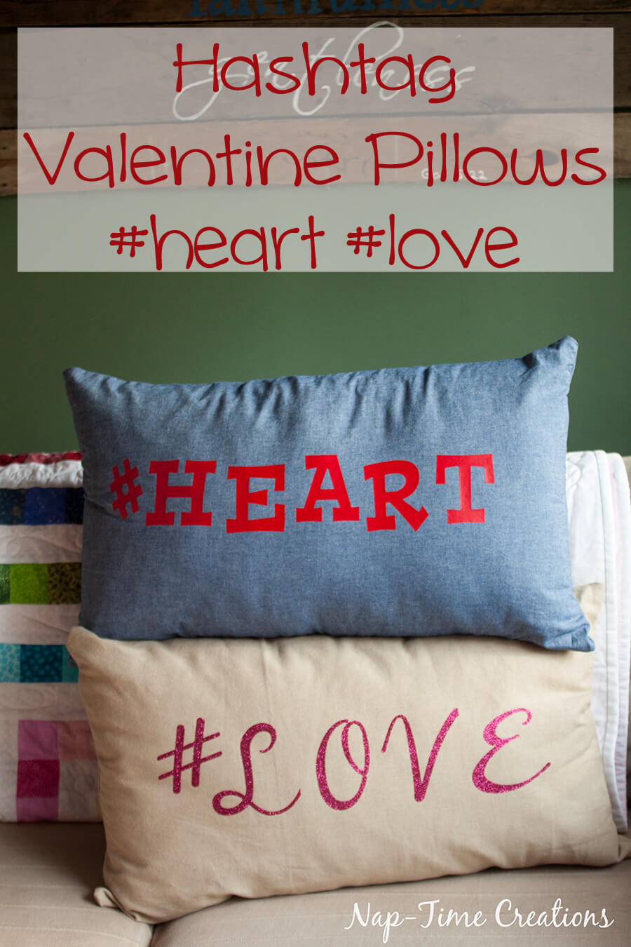 Zipper pillow case tutorial and hashtag valentines pillows easy sewing from Nap-Time Creations