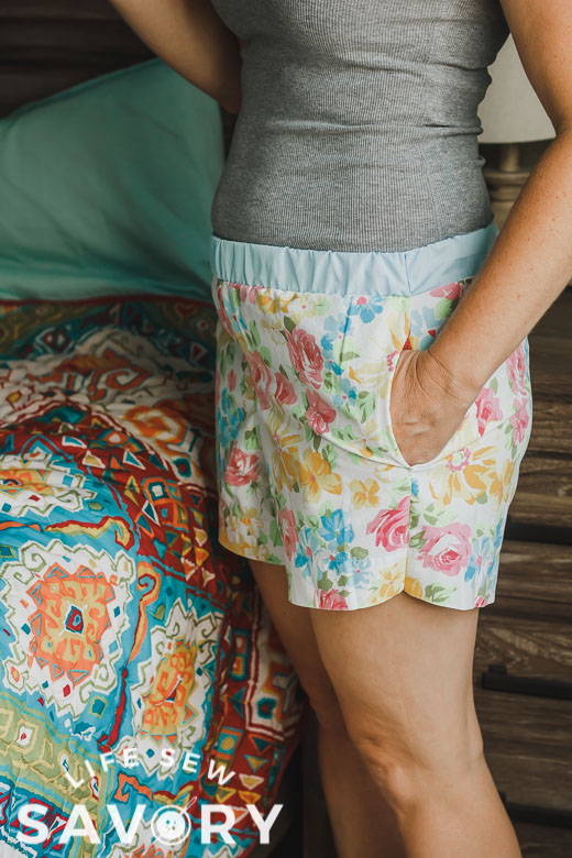 pj shorts free pattern with woven fabric