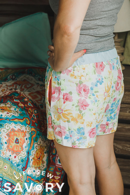 back of free shorts pattern