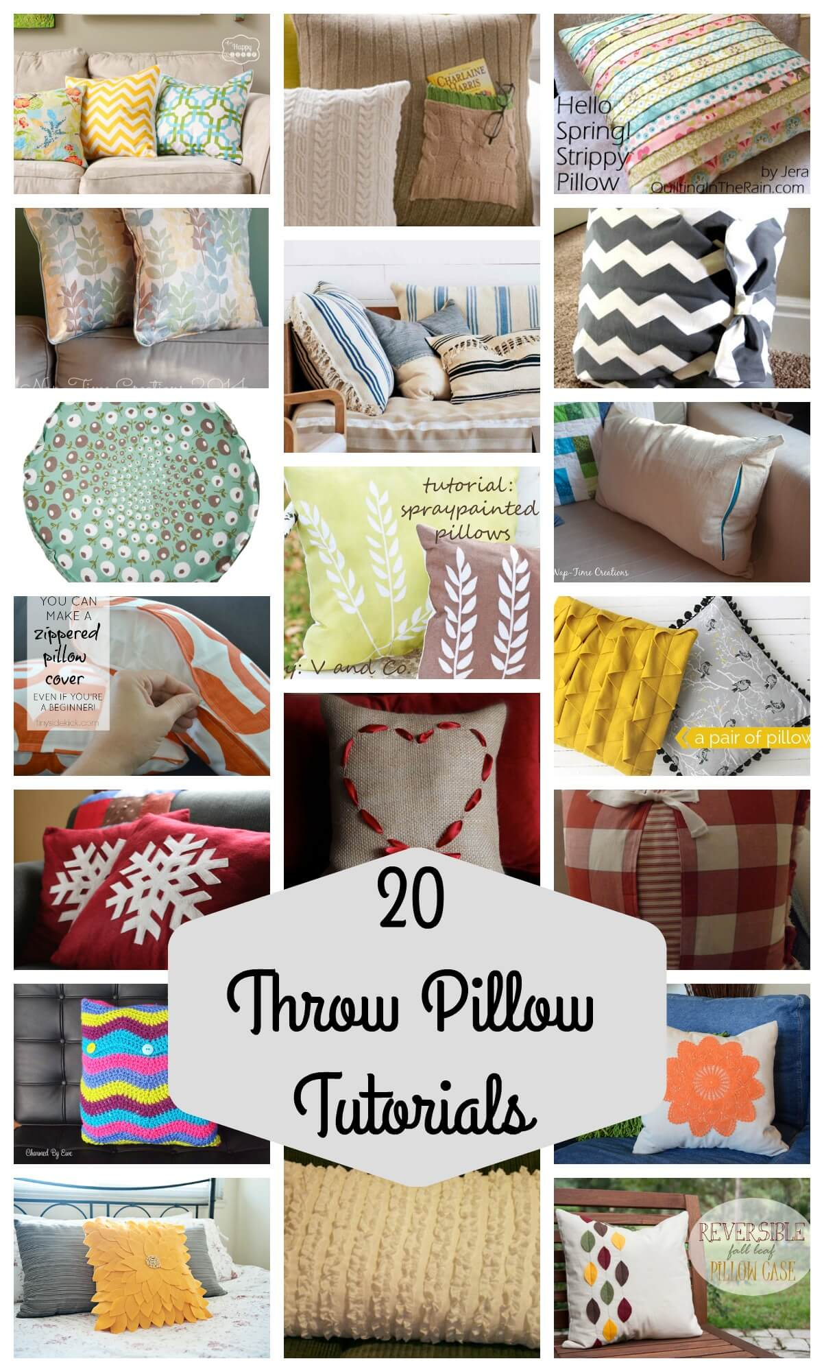 20 Throw Pillow Tutorials Compiled by Nap Time Creations